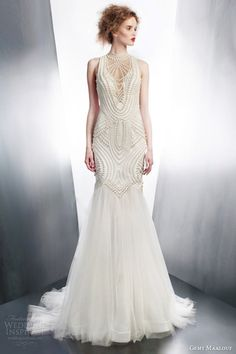 Gemy Maalouf 2015 bridal sleeveless sheath wedding dress art deco beading style