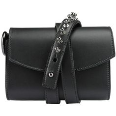 Loes vrij Glorious Gun bag ($1,208) ❤ liked on Polyvore featuring bags, handbags, purses, black, studded leather purse, leather man bags, genuine leather handbags, leather handbags and shoulder strap purses