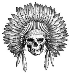 Native American Indian skull & headdress Royalty Free Stock Vector Art Illustration