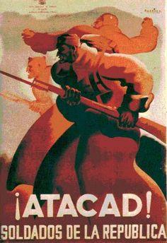¡ATACAD! Soldados de la República. Autor: Parrilla. Editor: Junta de Defensa de Madrid.