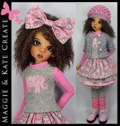 "**Pink & Gray ** Outfit for Kaye Wiggs 18"" MSD BJD by Maggie & Kate Create"