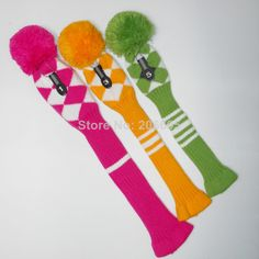 Colorful pom pom Golf head cover, Argyle style, set of 3, Rose/Gold/Green , Number Tag 1,3,5, Free shipping $45.00