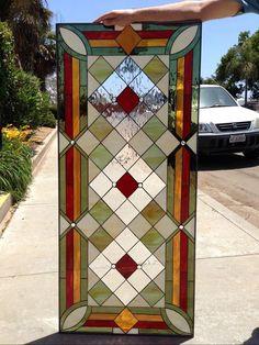 "The ""Malibu"" Geometric Stained Glass Diamond Window Panel (We do custom work, email for a quick quote) Stained Glass Door, Stained Glass Designs, Stained Glass Panels, Stained Glass Projects, Stained Glass Patterns, Leaded Glass, Beveled Glass, Mosaic Glass, Window Art"