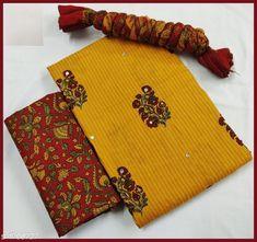 Yellow suit & dress material: Free COD Panchami dress materials For enquiry and booking on WhatsApp Churidar Designs, Kurta Designs Women, Yellow Suit, Gold Bangles Design, Neck Designs For Suits, Wedding Silk Saree, Suit Fabric, Batik Prints, Salwar Suits