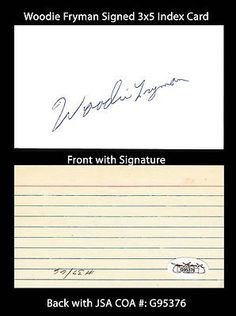 """Woodie Fryman Signed 3x5 Index Card JSA COA 1966-83 Expos Phillies Tigers . $20.00. All Star Major League PitcherWoodie FrymanHand Signed 3x5"""" Index CardFryman Played For:Pittsburgh Pirates 1966-1967Philadelphia Phillies 1968-1972Detroit Tigers 1972-1974Montreal Expos 1975-1976Cincinnati Reds 1977Chicago Cubs 1978Montreal Expos 1978-1983.WONDERFUL AUTHENTIC WOODIE FRYMAN BASEBALL COLLECTIBLE!!SIGNATURE IS AUTHENTICATED BY JAMES SPENCE AUTHENTICATION (JSA) WITH..."""