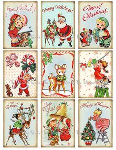 Free Vintage Printable Christmas Gift Tags | Christmas Tags, Digital Collage Sheet, Retro Vintage DIY Gift Tags ...