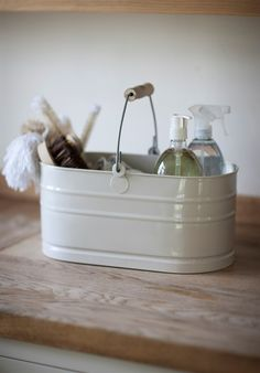 Enamel Utility Bucket in chalk from Garden Trading - I need these for my new laundry room shelves.