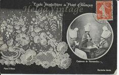 French BW postcard Ecole Dentelliere de Point D'Alencon, Lace school Normandie Costume, Le Point, Vintage Textiles, Vintage Postcards, Vintage World Maps, Ebay, Normandie, Lace Up, Vintage Travel Postcards