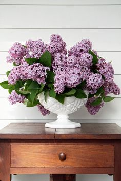 Blooming Lilacs in milkglass