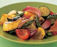 Oven roasted vegetables.You can roast vegetables at the same time that you cook a roast.Just put vegetables on grilling rack with meat.