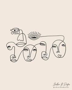 Cute girl drawing, line artwork, people illustration, beautiful lines, cray Art Sketches, Art Drawings, Abstract Drawings, Illustration Art Nouveau, People Illustration, Art Minimaliste, Abstract Face Art, Line Artwork, Arte Sketchbook