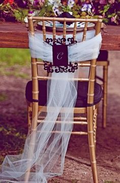 Reception Chair Decor, Wedding Reception Photos by Kate Miller Events™. An idea cause I like the initial Wedding Chair Decorations, Wedding Chairs, Decoration Table, Wedding Table, Wedding Ceremony, Our Wedding, Dream Wedding, Decor Wedding, Wedding Beauty