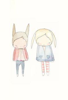 Children Decor Fashionista Rabbit Friends  Floppy Ears by honeycup,