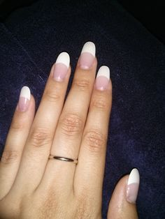 french tip round acrylic nails by Lee :} | Yelp