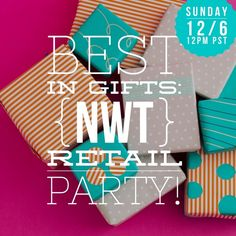 Best in Gifts - NWT Retail Party Theme  Tag your PFF's and share, please!  Tag me in any NWT Retail items that you think would make lovely gifts! Would especially love to feature fabulous new closets! So excited! Be there to party with me on Sunday 12/6/15 at 12:00PM PST !!!  J. Crew Dresses