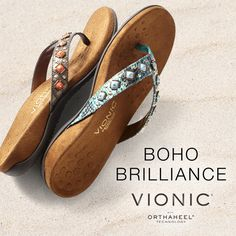 Show off your feet in a pair of glam sandals by Vionic with Orthaheel Technology. The beaded embellishments are a trendy fashion statement this spring that you won't want to miss. These sandals can help relieve heel pain, improve body alignment, posture, and walking gait.