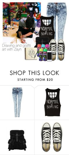 """""""Drawing and graffiti art with Zayn"""" by smery09 ❤ liked on Polyvore featuring 7 For All Mankind, even&odd, Converse and Kate Spade Saturday"""