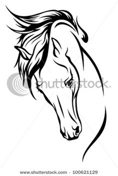 horse head with flying mane vector illustration by Cattallina, via Shutterstock - Keep the outline black, add a red feather to the mane, a blue cirle around the eye, and an arrow to the neck area. I love it!