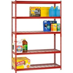5 Shelf Industrial Steel Shelving Rack Adjustable Shelves Storage Solution Red  #SanduskyLee