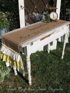 """Burlap Table Runner ~NEW~ """"Summertime and the Livin' is Easy"""" by SweetMagnoliasFarm, 58.50"""