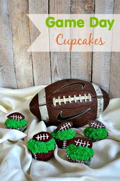 Chocolate Cupcakes with green grass frosting and a chocolate deflated football - perfect for your Superbowl!