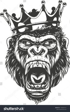 Vector illustration, ferocious gorilla head on with crown,King of monkeys, on white backgroundgorilla#head#ferocious#Vector