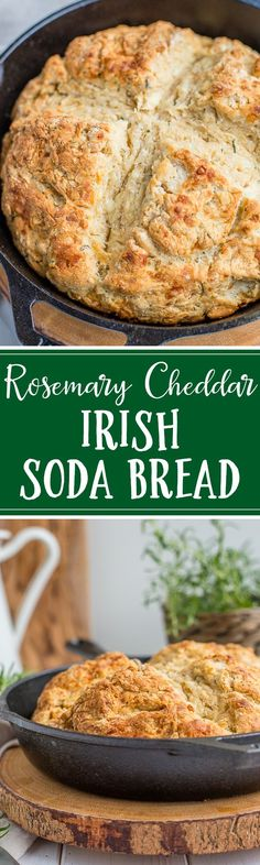 A savory Irish soda bread packed with fresh rosemary and sharp cheddar cheese makes the best St. Patrick's Day side or snack. #sodabread #irishsodabread #stpatricksday