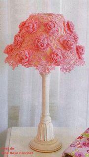 \ PINK ROSE CROCHET /: Cúpula de Abajur com Rosas - Crochê