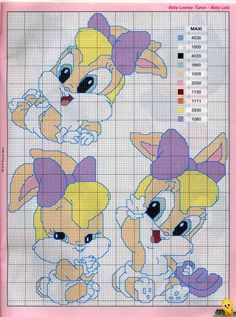 Baby Looney Tunes a punto croce Cross Stitch Alphabet, Counted Cross Stitch Patterns, Cross Stitch Charts, Cross Stitch Designs, Disney Stitch, Baby Looney Tunes, Stitch Cartoon, Morning Cartoon, Crochet Amigurumi Free Patterns
