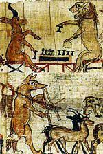 A gazelle and a lion play a game of senet, and a fox, jackal or wolf acts as a herdsman