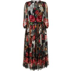 Dolce & Gabbana Printed Silk Maxi Dress (128 240 UAH) ❤ liked on Polyvore featuring dresses, silk evening dresses, rose cocktail dress, dolce gabbana dress, dog dresses and cat dress