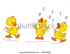 picture of cartoon ducks singing in a vector clip art illustration