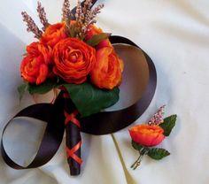 Fall Orange Bridal Bouquet Orange Ranuculus Brown