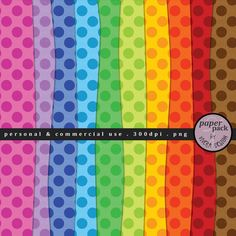 PolkaDotted Papers in Bright Rainbow Colors  by viveradesign, $3.20
