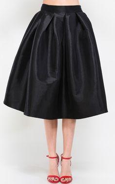 5691e5de0dc2c Womens Magnificent Pleated Taffeta Midi Skirt