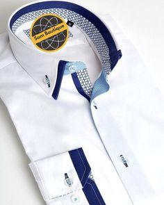 French shirt with double collar - French Shirt - Ideas of French Shirt - French shirt with double collar Formal Shirts For Men, Casual Shirts, Mens Designer Shirts, Kurta Designs, Collar Shirts, Double Collar Shirt, Herren T Shirt, Fashion Details, Shirt Style