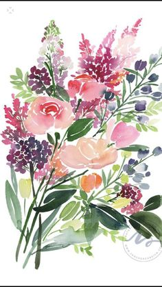 Roses and Astilbes — Yao Cheng Design Watercolor Paintings For Beginners, Watercolor Projects, Watercolor Artwork, Watercolor Cards, Watercolor Flowers, Art Floral, Art Sur Toile, Art Carte, Guache