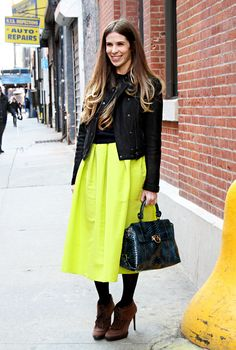 "NYFW Shoptiques Street Style - Ladylike Neon: Leah Melby    Personal Style: ""A mix of everything. Classic shapes and styles in bright colors."""