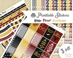 Printable stickers Harry Potter maison Gryffondor | 3 pdf | Téléchargement instantané | Planner, Happy planner