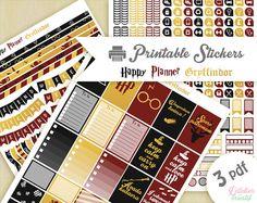 Printable stickers Harry Potter maison Gryffondor | 3 pdf | Téléchargement instantané | Planner, Happy planner