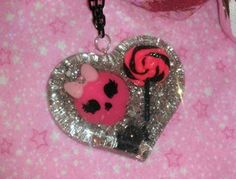 Gorgeous Hot Pink and Black Heart Pendant by GlamCandyBoutique, $22.00