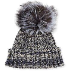 Adrienne Landau Heather Knit Beanie Hat w/Fur Pom Pom (820 NOK) ❤ liked on Polyvore featuring accessories, hats, knit beanie hats, knit beanie, pom beanie, fur hat and beanie hats