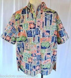 Hula Girl Huts Canoes Reverse Print Button-Down Hawaiian Pullover by Kahala size XL *bnwot
