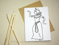 Coloring card - Cleopatra by PancakesCamembert on Etsy, €3.50