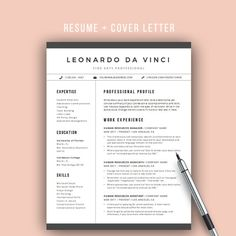 resume template word 4 pages cv template by theresumemaker resumedesign resumetemplate - Template For Resume Word