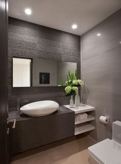Contemporary Powder Room with Standard height, limestone tile floors, Slate counters, Porcelanosa Borneo Sage Tile