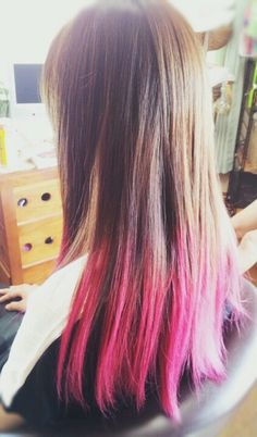 pink♡ ombre dip dye hair!!  グラデーション ヘアカラー  ピンク