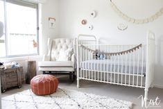 Serene, Modern, Gender Neutral Nursery - love the use of whites and creams!