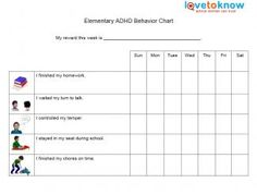 preschool goal charts ideas | ADHD Behavior Charts for Middle and ...