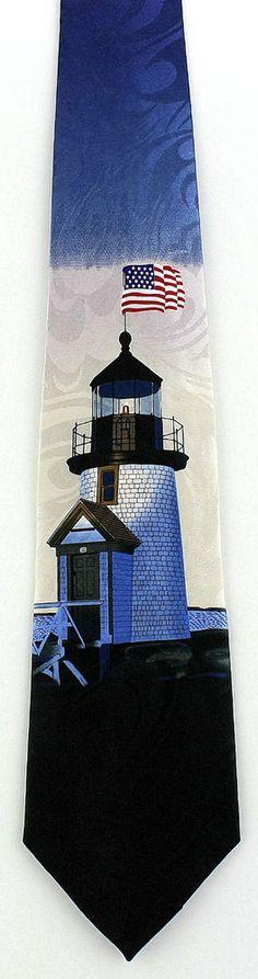 New Patriotic Lighthouse Mens Necktie Sea Ship Ocean American Flag Neck Tie #StevenHarris #NeckTie